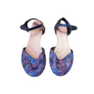 Bueno Soft Leather Shimmer Floral Sandals
